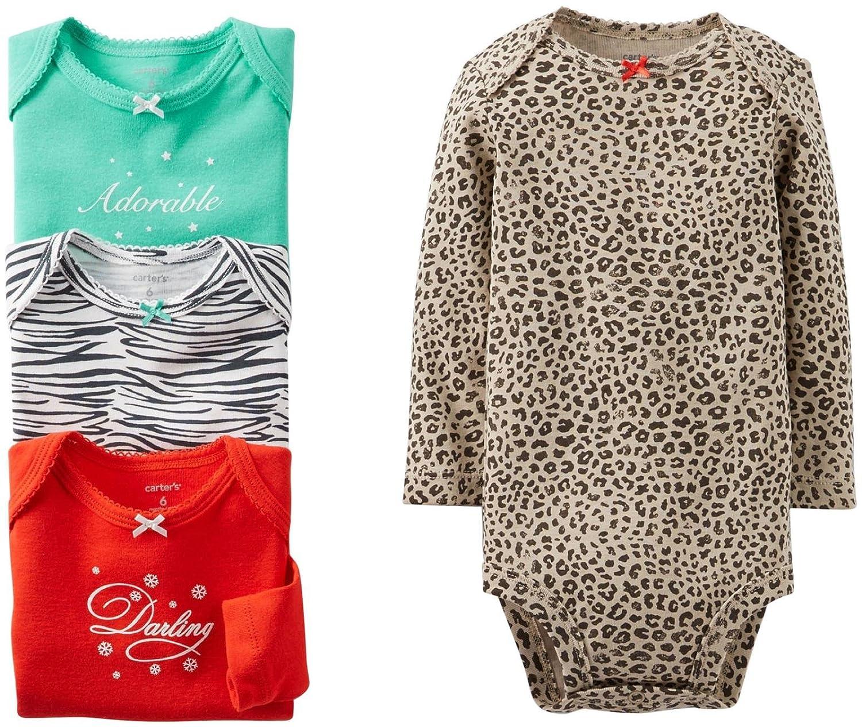 amazon com carter u0027s baby girls u0027 4 pack animal print bodysuits