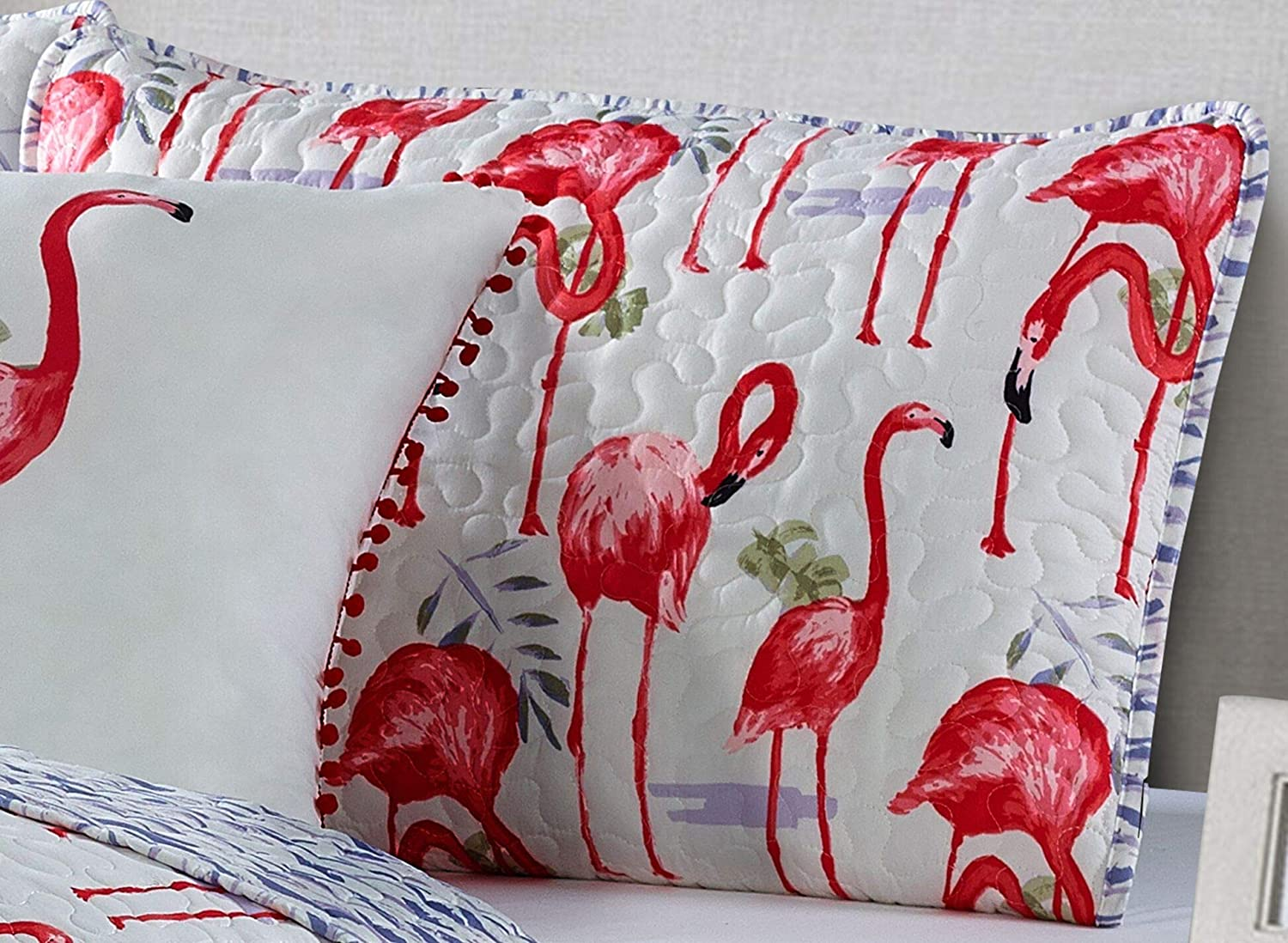 Seaside Resort Fancy Flamingo 4PC King Quilt Set White and Pink