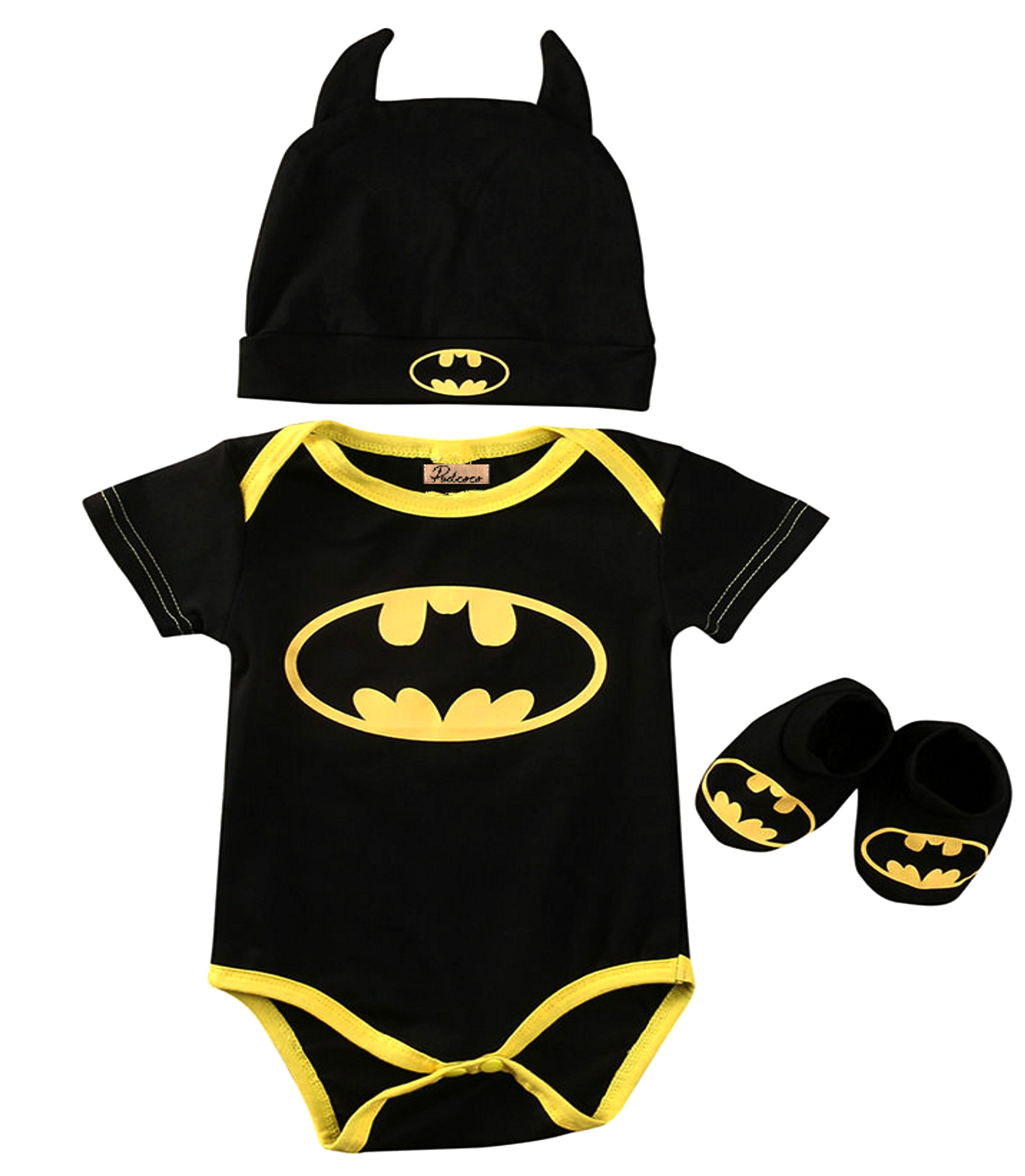Baby Superhero Onesie: 3 Piece Outfits Set (0-6 Months, Batman Short Sleeves)