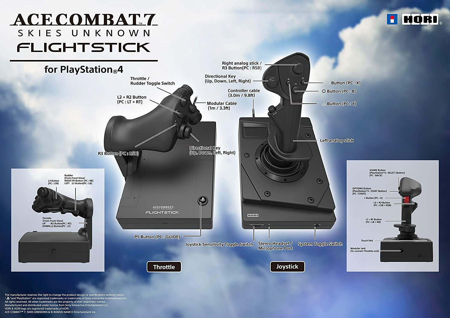 HORI Ace Combat 7 Hotas Flight Stick for PlayStation 4 Officially Licensed By SIEA /& Bandai Namco Entertainment