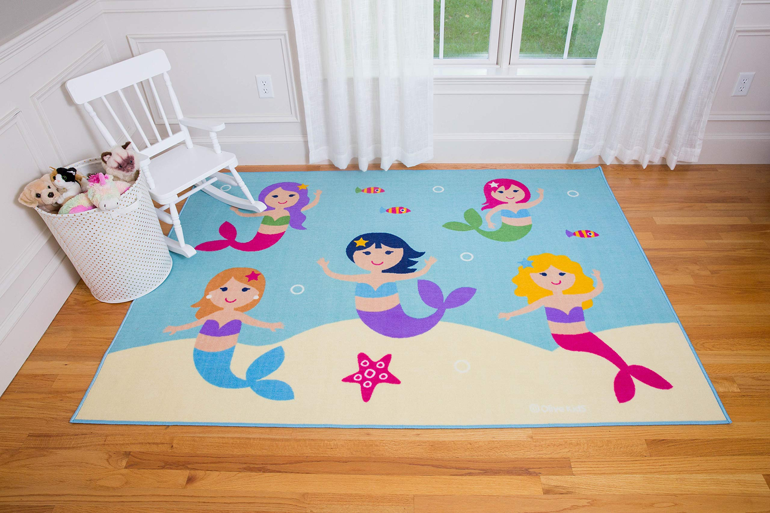 Play Rug, Wildkin Children's 39 x 58 Inch Rug, Durable, Vibrant Colors That Will Last, Perfect for Nurseries, Playrooms, and Classrooms, Ages 3+, Olive Kids Design - Mermaids