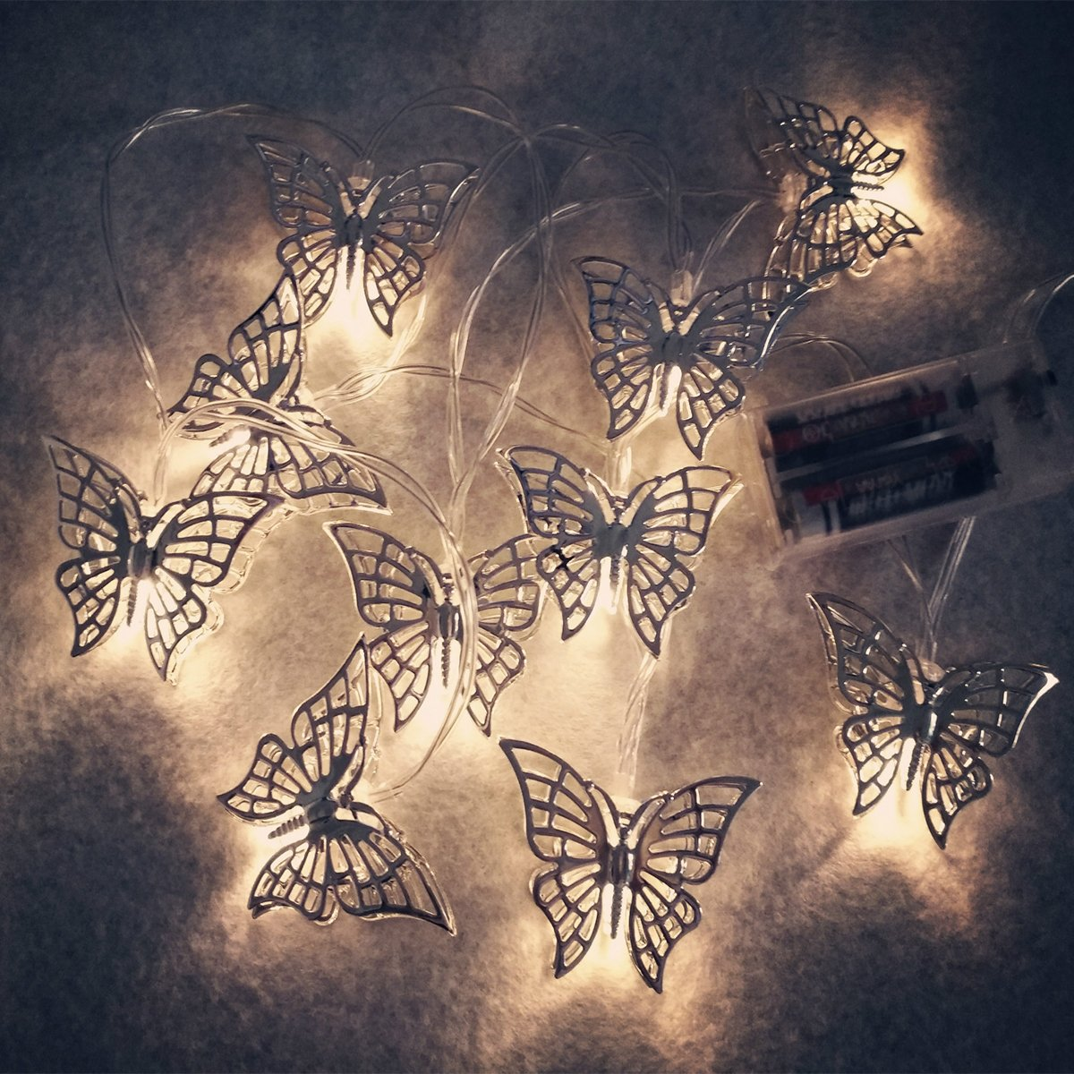 fantastic me 10ft 20 LED Iron Butterfly Fairy String Lights Night Lamp-Battery Powered-Decoration for Home Bedroom Kids Nursery Room Christmas Tree Wedding Party Garden by fantastic me (Image #4)