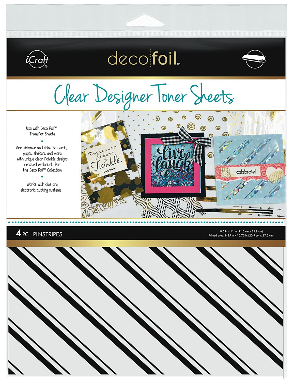 Deco Foil Clear Toner Sheets 8.5X11 4//pkg-Pinstripes