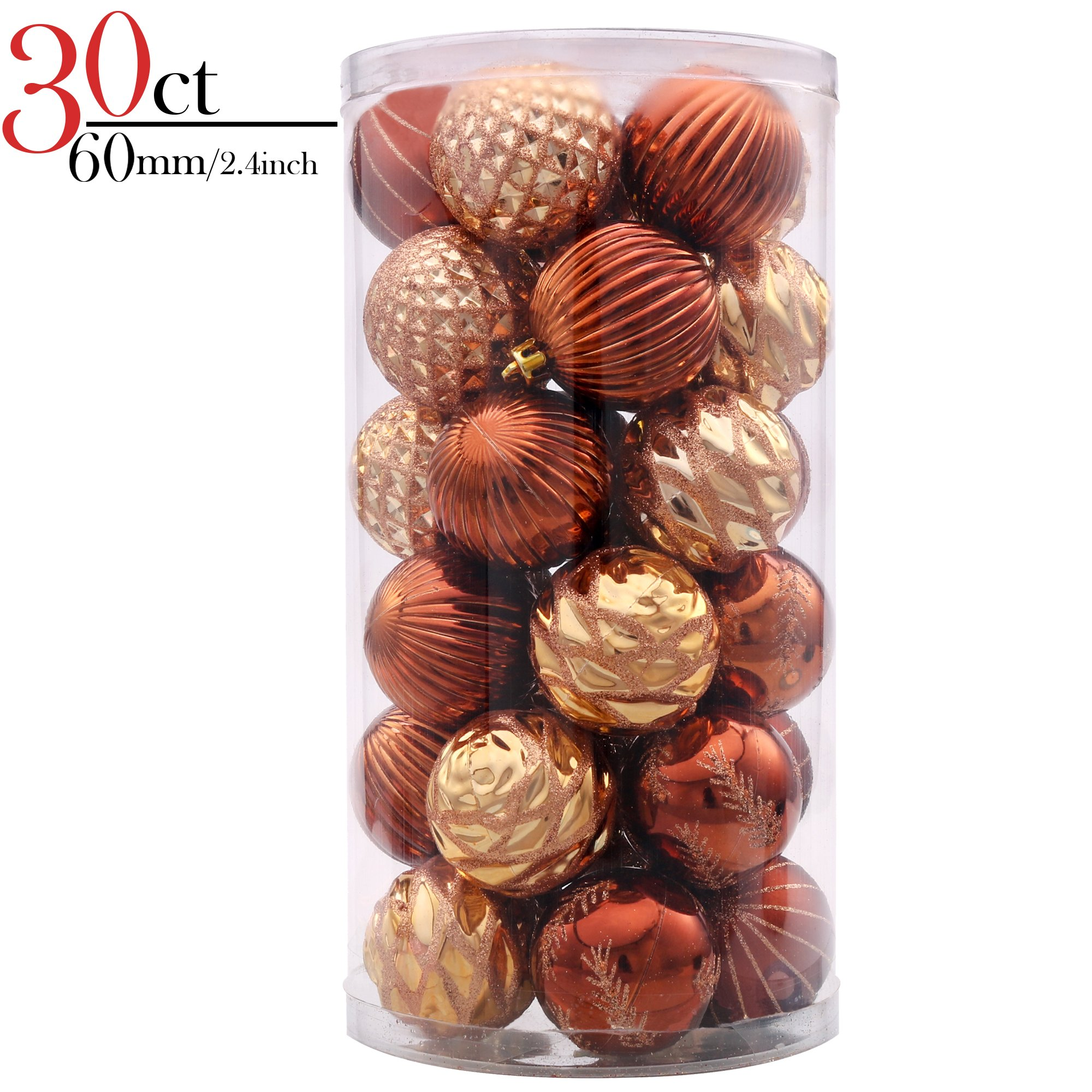 V&M VALERY MADELYN 30ct Shatterproof Christmas Ball Ornaments Decorations Woodland Gold, 2.36inch/6CM, 30 Metal Hooks Included, Themed with Tree Skirt(Not Included)