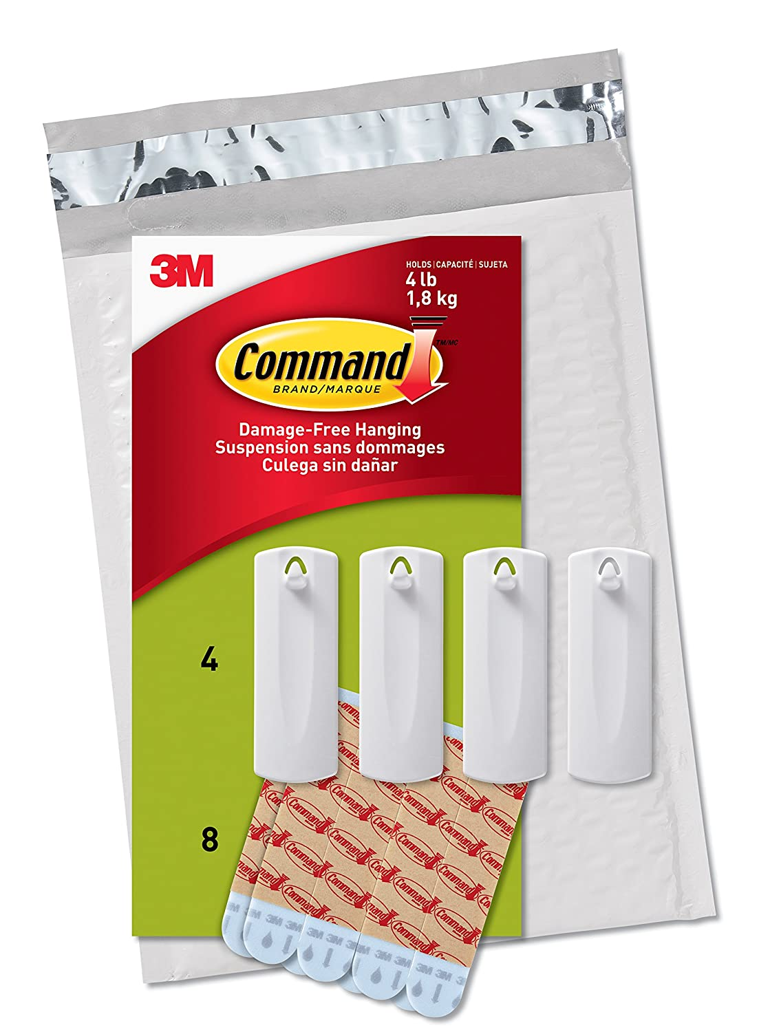 Command Sawtooth Picture Hangers, White, 4-Hangers (PH040-4NA) - Easy to Open Packaging 3M