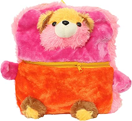 Bagaholics Cute Teddy School Bag Soft Plush Toy School Backpack for Kids (Pink)