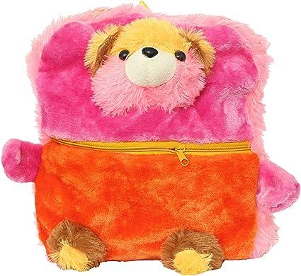 Bagaholics Cute Teddy School Bag Soft Plush Toy School Backpack for Kids (Pink)