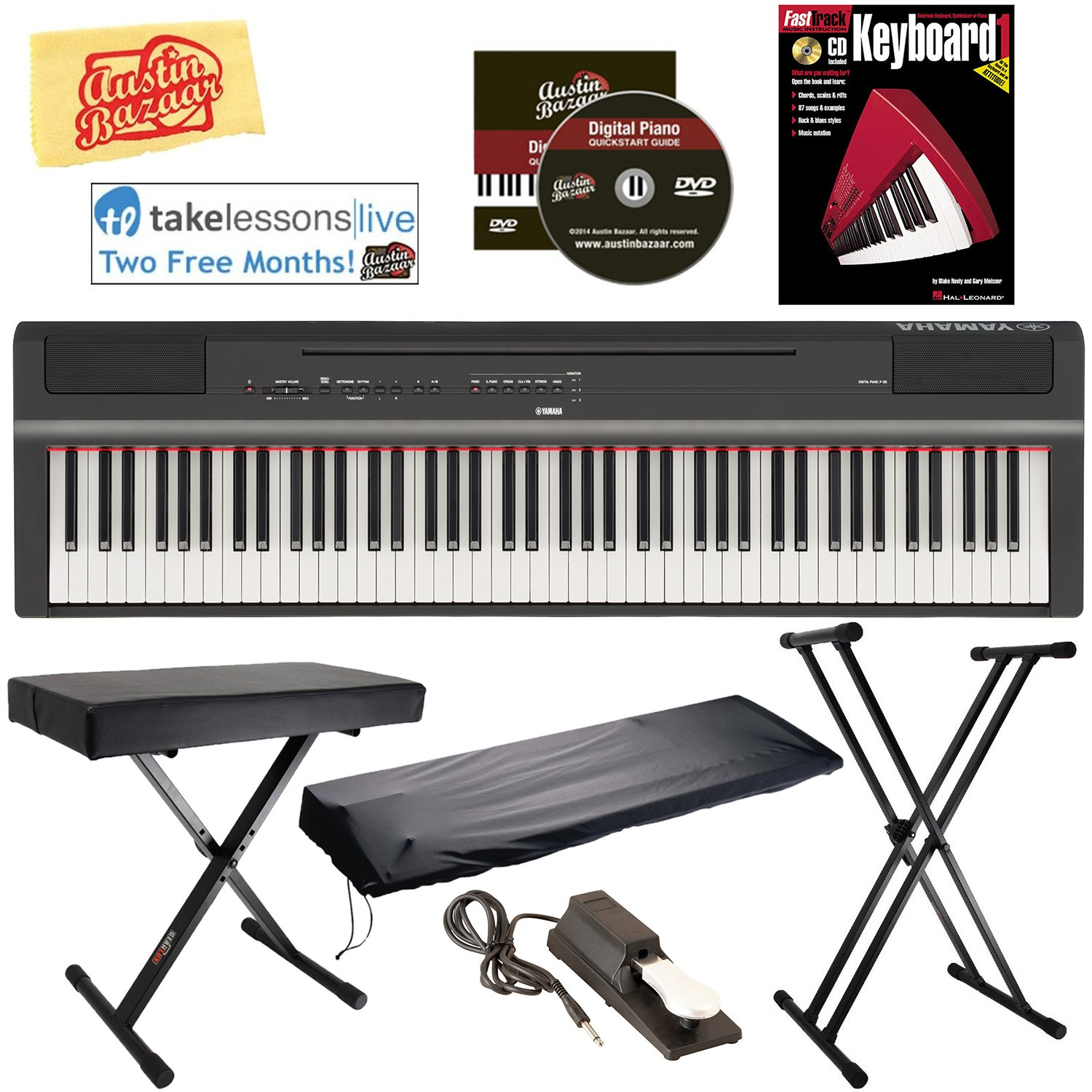 Yamaha P-125 Digital Piano - Black Bundle with Adjustable Stand, Bench, Sustain Pedal, Dust Cover, Instructional Book, Online Lessons, Austin Bazaar Instructional DVD, and Polishing Cloth by Yamaha
