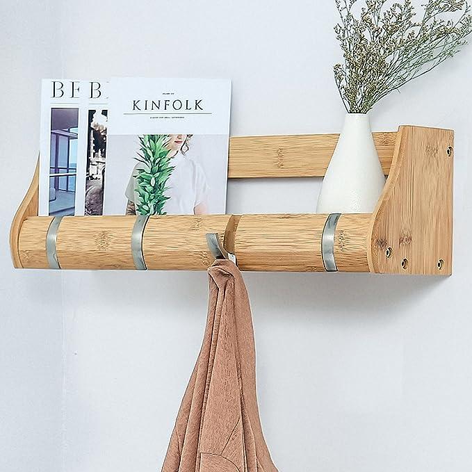 Amazon.com: epeanhome perchero de bambú, Estantería de pared ...