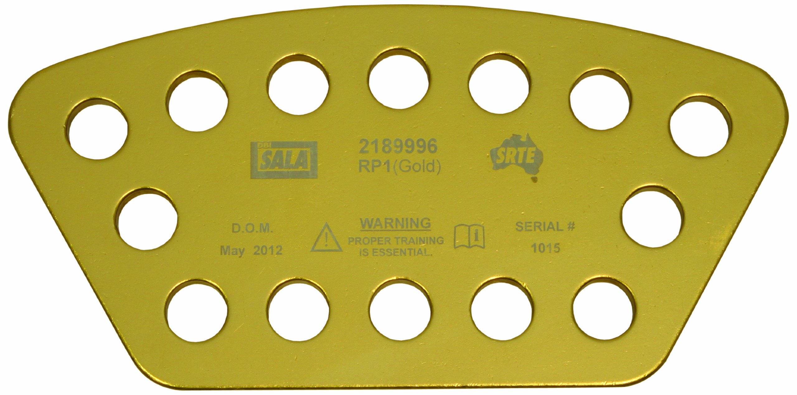 3M DBI-SALA Rollgliss Technical Rescue 2189996 Rigging Plate, Large, Rectangular, Aluminum, 14 Rigging Points, Gold