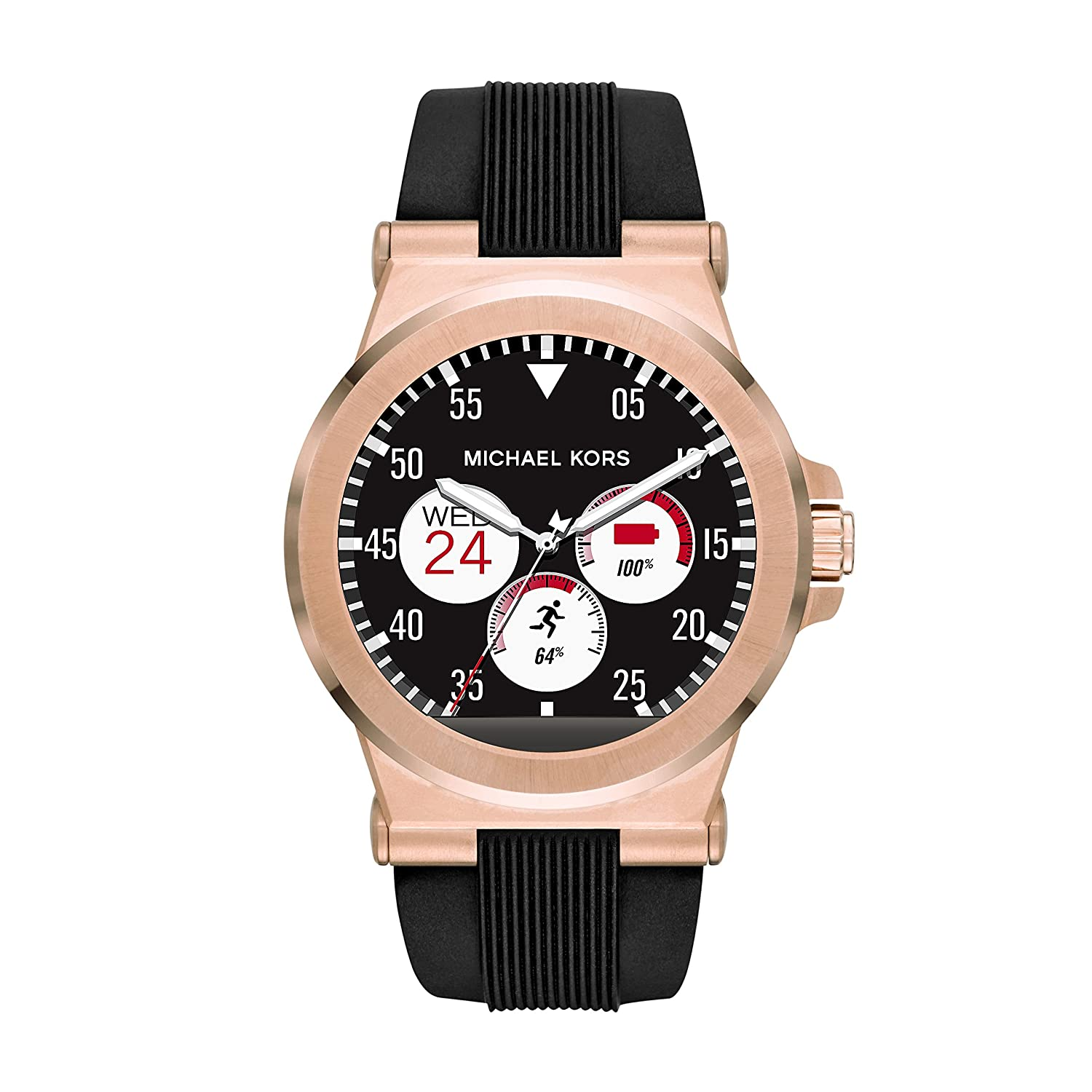 ef5be832d59a Amazon.com: Michael Kors Access, Men's Smartwatch, Dylan Rose Gold-Tone  Stainless Steel with Black Silicone, MKT5010: Watches