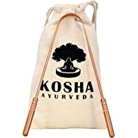 Copper Tongue Scraper | Perfect Surgical Tongue Cleaner | Best remedy for bad breath | Naturally Antimicrobial and Prevents Oral Health Diseases | Flexible handle with comfortable grip | Kosha Ayurveda