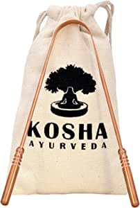 Kosha Ayurveda Copper Tongue Scraper Cleaner | Perfect Surgical Tongue Scraper | Best remedy for bad breath | Maintains Oral Hygiene | Thick Safe Blunt Edges | Flexible handle and Comfortable Grip.