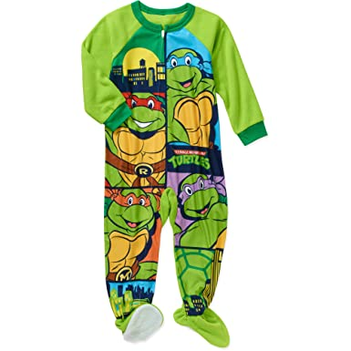 e7db58dde6 Amazon.com  TMNT Toddler Little Boys Footed Blanket Sleeper Pajama  Clothing