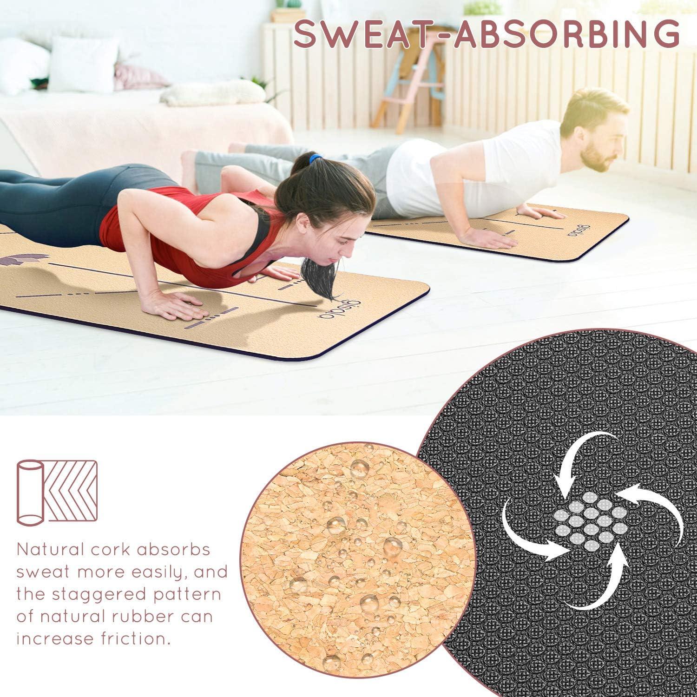 6mm de Grosor gisala Esterilla Yoga Antideslizante para Pilates,Fitness No t/óxico Colchoneta Yoga de Corcho Esterilla Deporte Antideslizante Ecol/ógica y 100/% Natural de 183x65cm