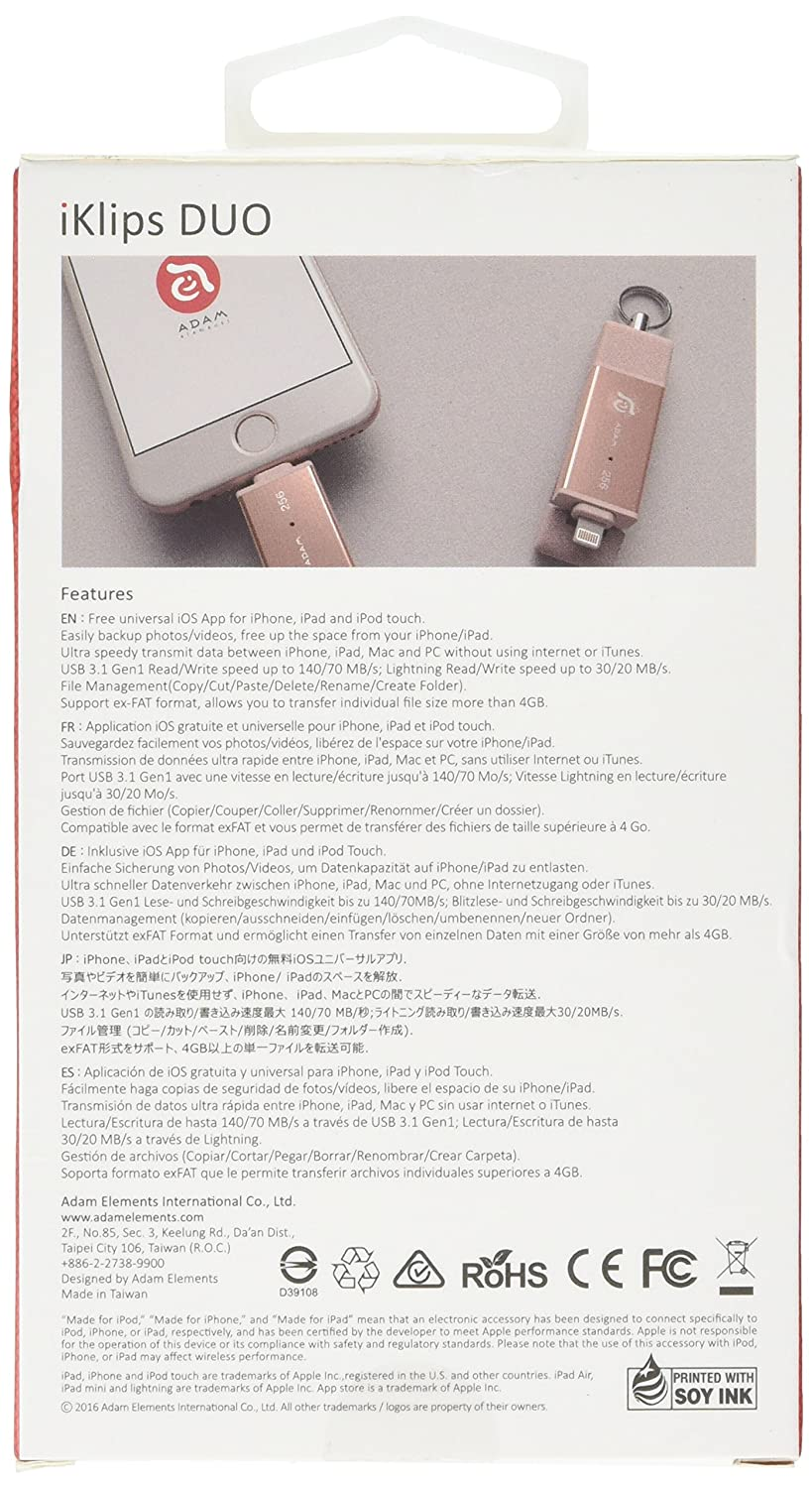 Adam Elements 256gb Iklips Duo Lightning Usb 31 Dual Element Flash Drive 64 Gb Grey Interface Rose Gold Cell Phones Accessories
