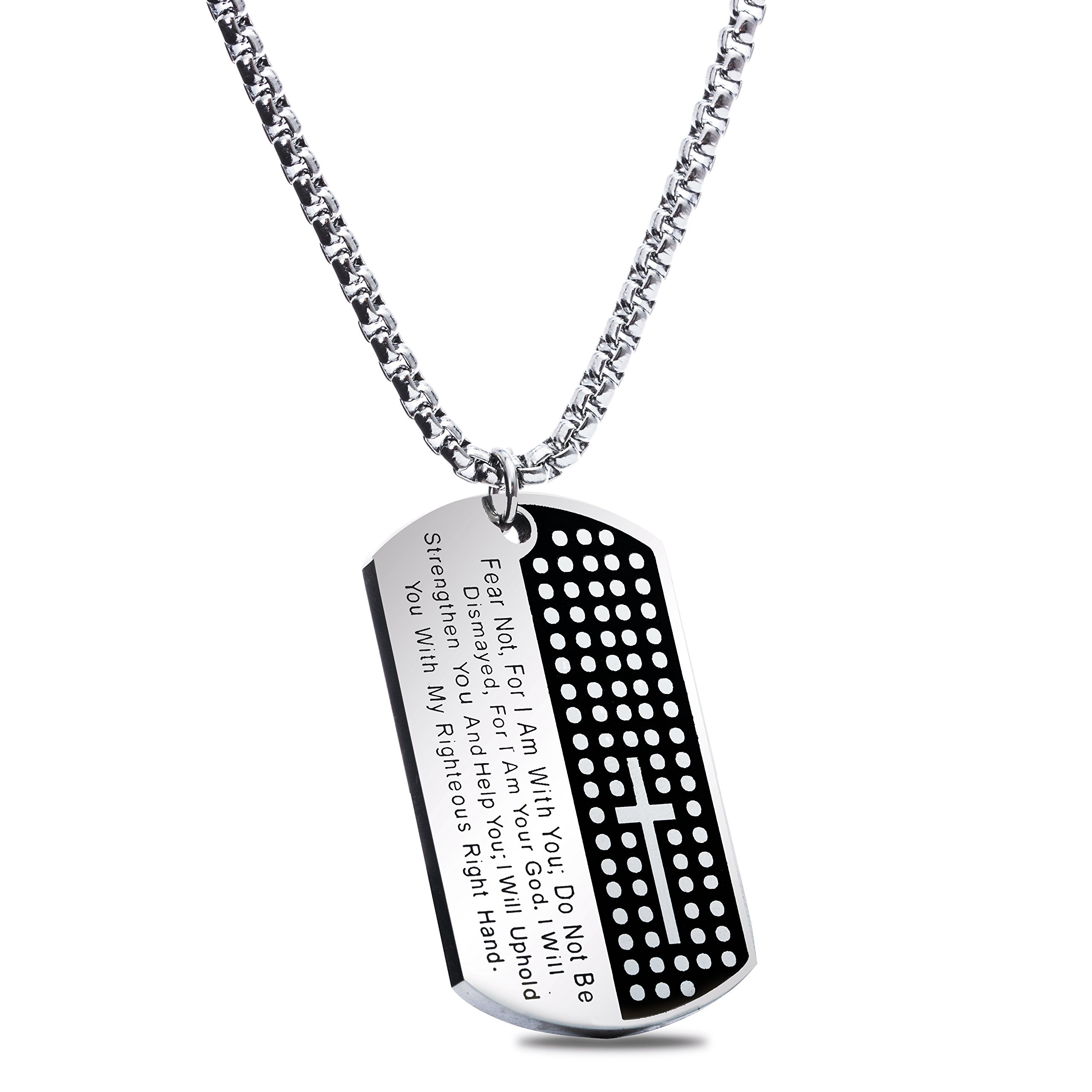 American Dog Tag w/ Isaiah 41:10 - ''Fear not'' Pendant - [Military Strength] Stainless Steel - Great Easter & Christmas Gift