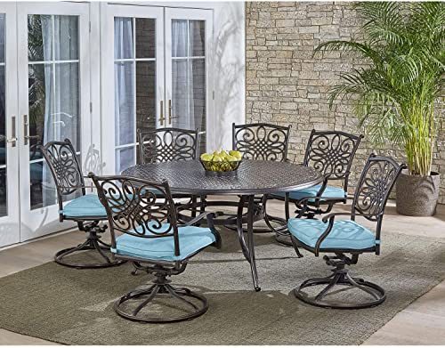 Hanover TRADDN7PCSWRD6-BLU Round Cast-top Table and Six Swivel Rockers 7 Piece Dining Set