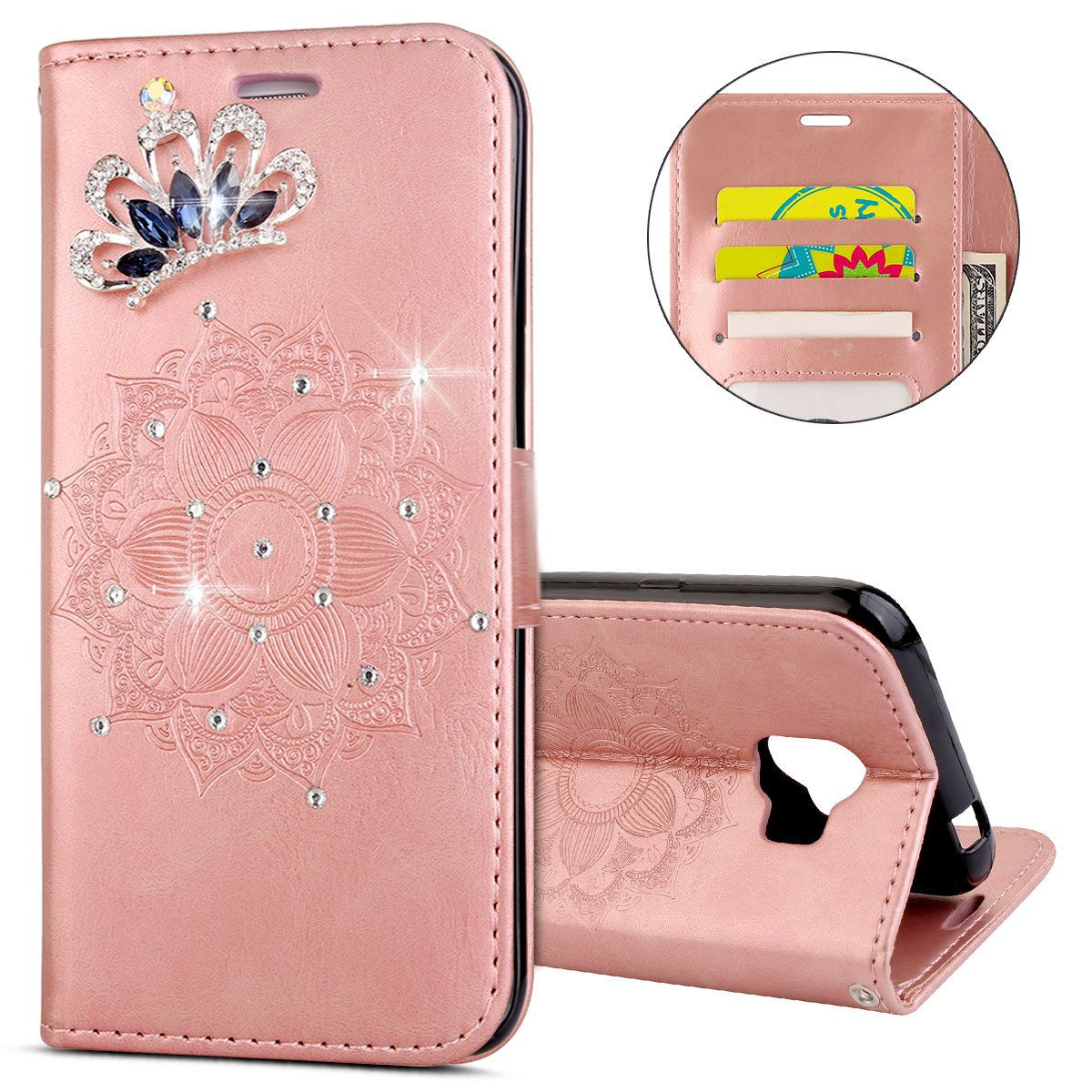IKASEFU Galaxy J2 Pro 2018 Case,Clear Crown Rhinestone Diamond Bling Glitter Wallet with Card Holder Emboss Mandala Floral Pu Leather Magnetic Flip Protective Cover for Samsung J2 Pro 2018,Rosa Gold