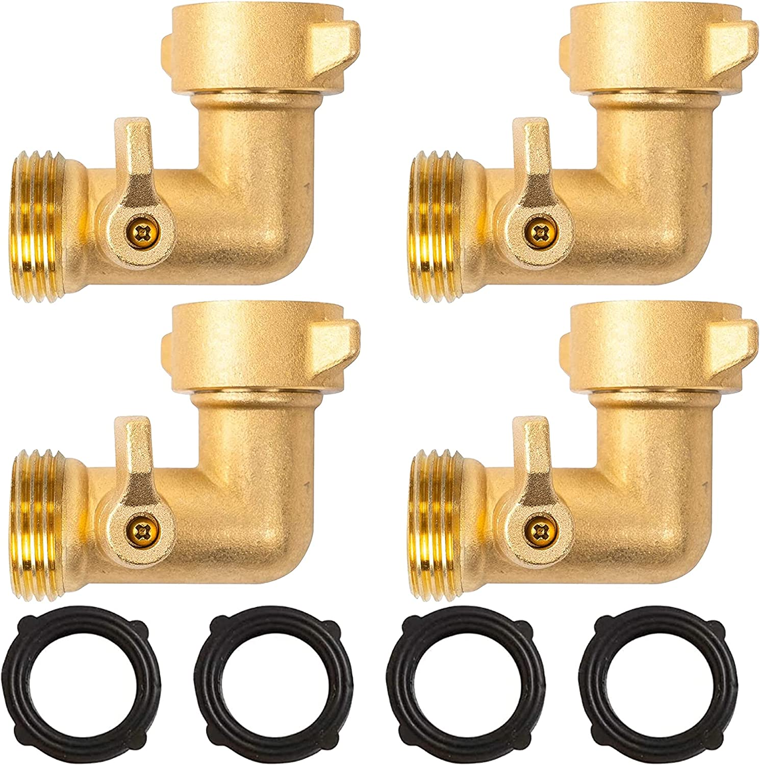 Xiny Tool 90 Degree Garden Hose Adapter with Shut Off Valves, 3/4