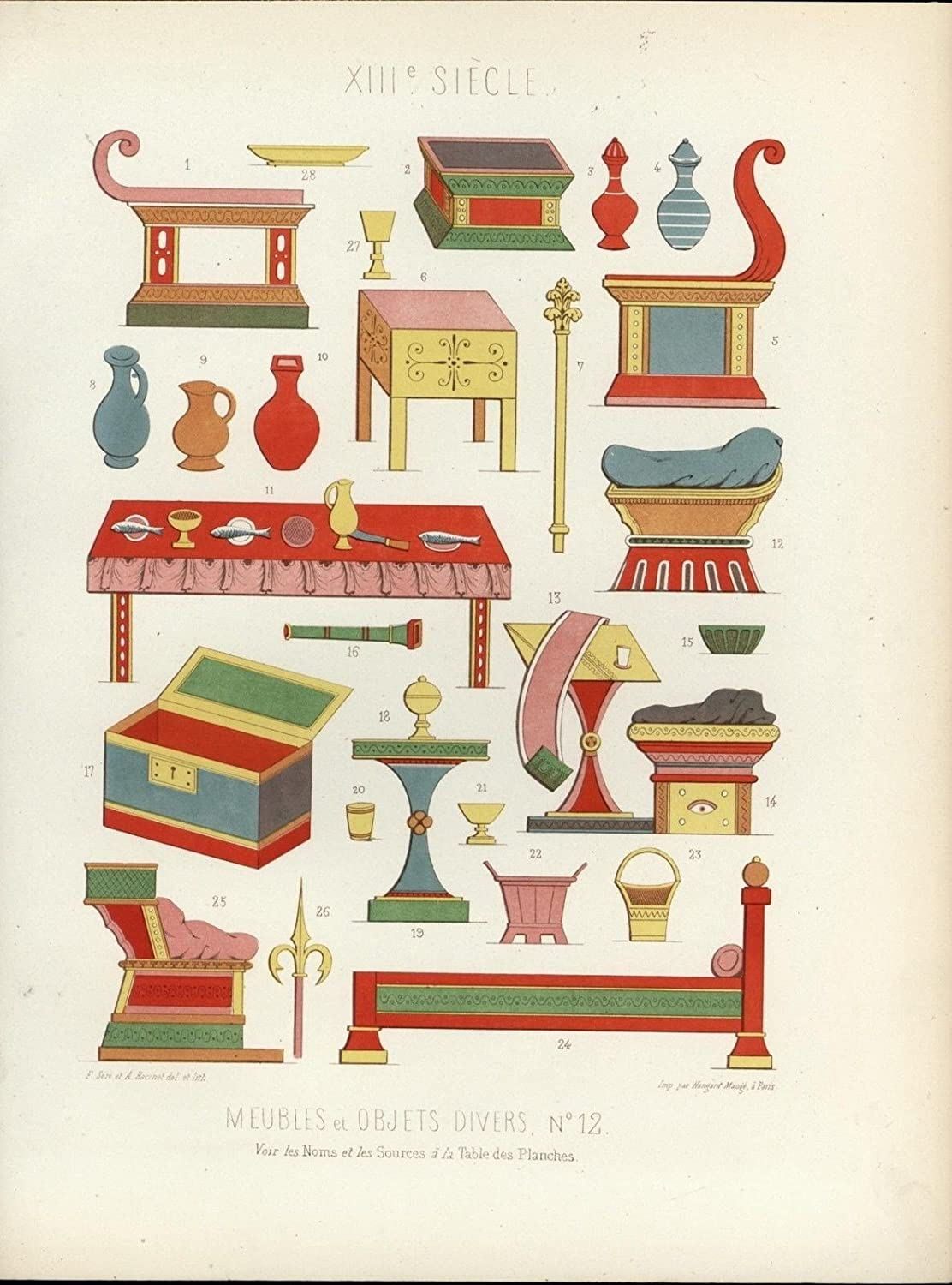 Furniture bed table chair cups seats wonderful 1858 antique color Medieval print