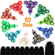 Awpeye 10 X 7 Polyhedral Dice Set (70 Pieces) for Dungeons and Dragons DND RPG MTG Table Games D4 D6 D8 D10 D% D12 D20 with