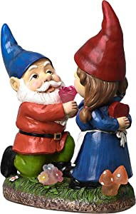 TERESA'S COLLECTIONS Romantic Gnome Couple Garden Statue and Sculpture with Solar Lights, Funny Lawn Gnome Proposing to Lady Gnome, Resin Garden Figurines for Outdoor Patio Yard Decoration 9 inch