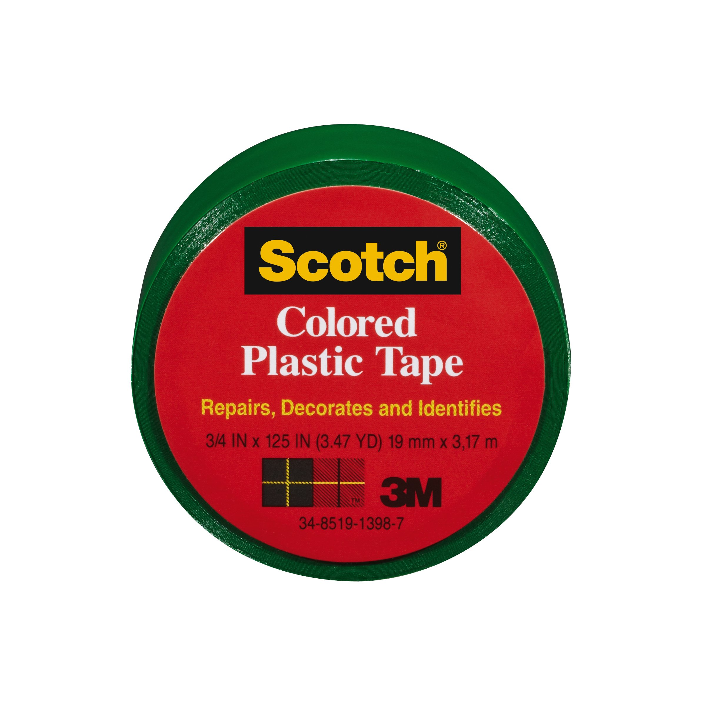 Scotch 190GN Colored Plastic Tape, 3/4 x 125-Inch, Green, 6 Pack