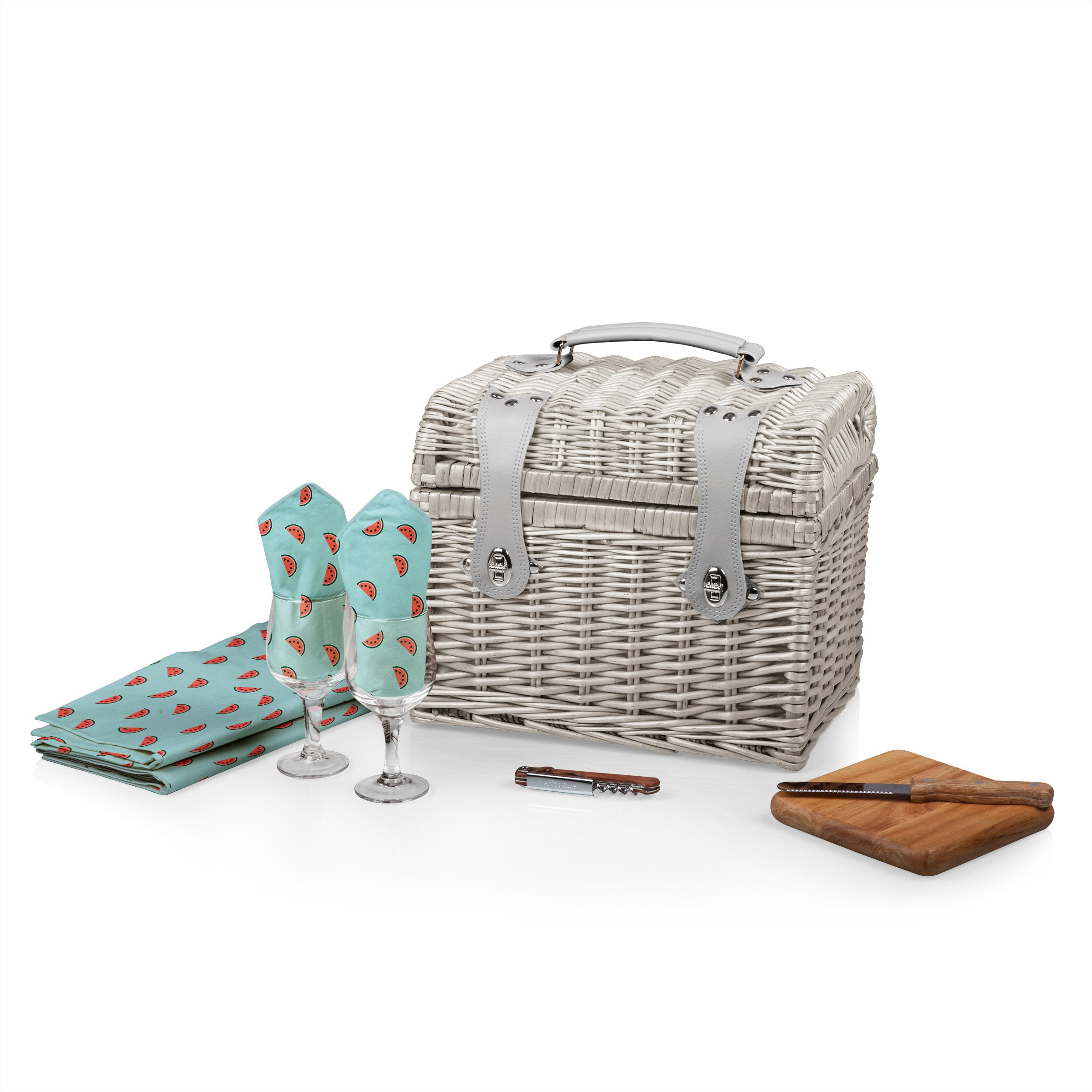 PICNIC TIME 'Napa' Picnic Basket with Wine and Cheese Service for Two, Watermelon Collection