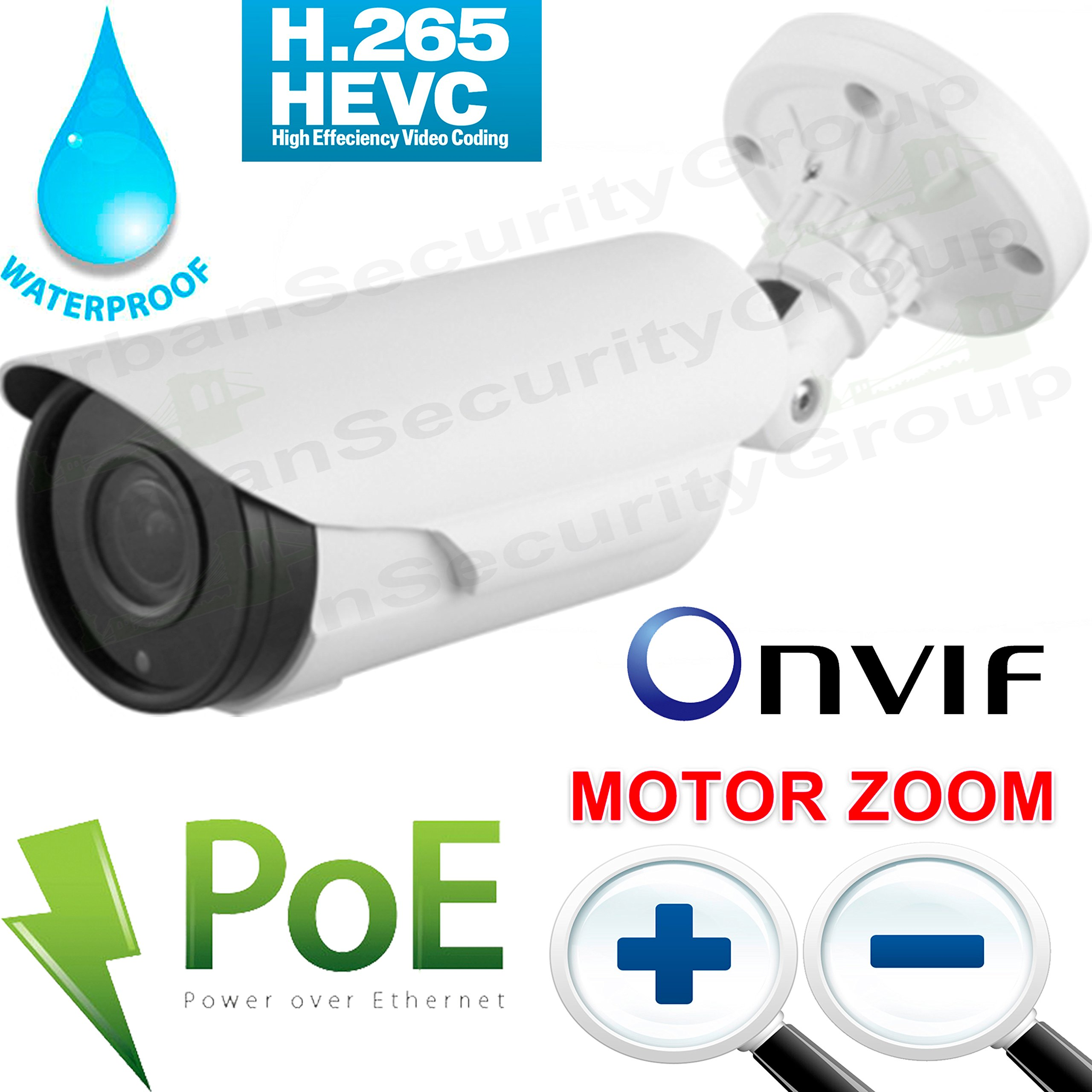 USG 4MP MOTORIZED 2.7-13.5mm Auto-Focus Lens H.265 Ultra HD IP PoE Network Bullet Security Camera : ONVIF 2.4, Weatherproof, 4x 42μ IR LED 130ft Nightvision, WDR: Business Grade : Phone App