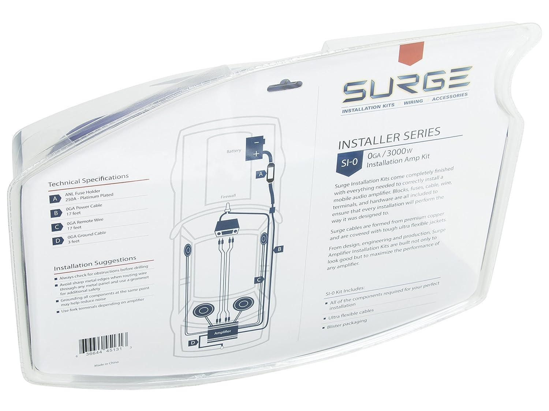 amazon com surge installer series amp installation kit 8 gauge rh amazon com amp wiring diagram instructions scosche 1200 watt amp wiring kit instructions