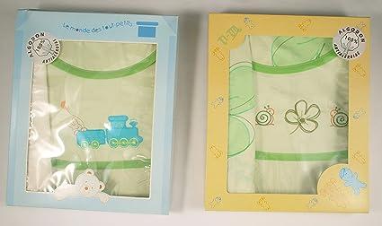 lote de 2 Juegos de sábanas para capazo de 35 x 75cm. una verde y