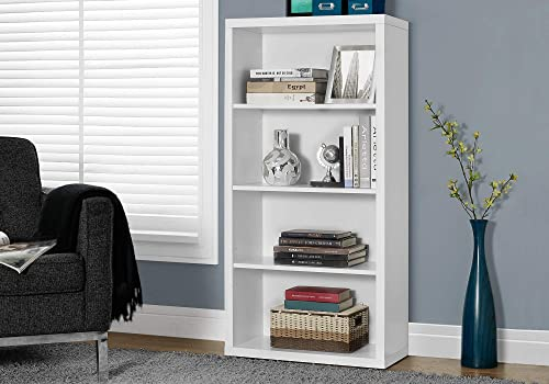 Monarch Specialties Bookcase – Sturdy Etagere with 3 Adjustable Book Shelves – 48 H White