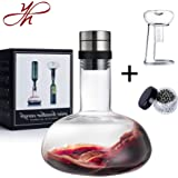 YouYah Wine Decanter Set,Wine Breather Carafe with Drying Stand,Cleaning Beads and Aerator Lid,Crystal Glass,Wine Gift,Wine Aerator,Wine Accessories (New Packing)