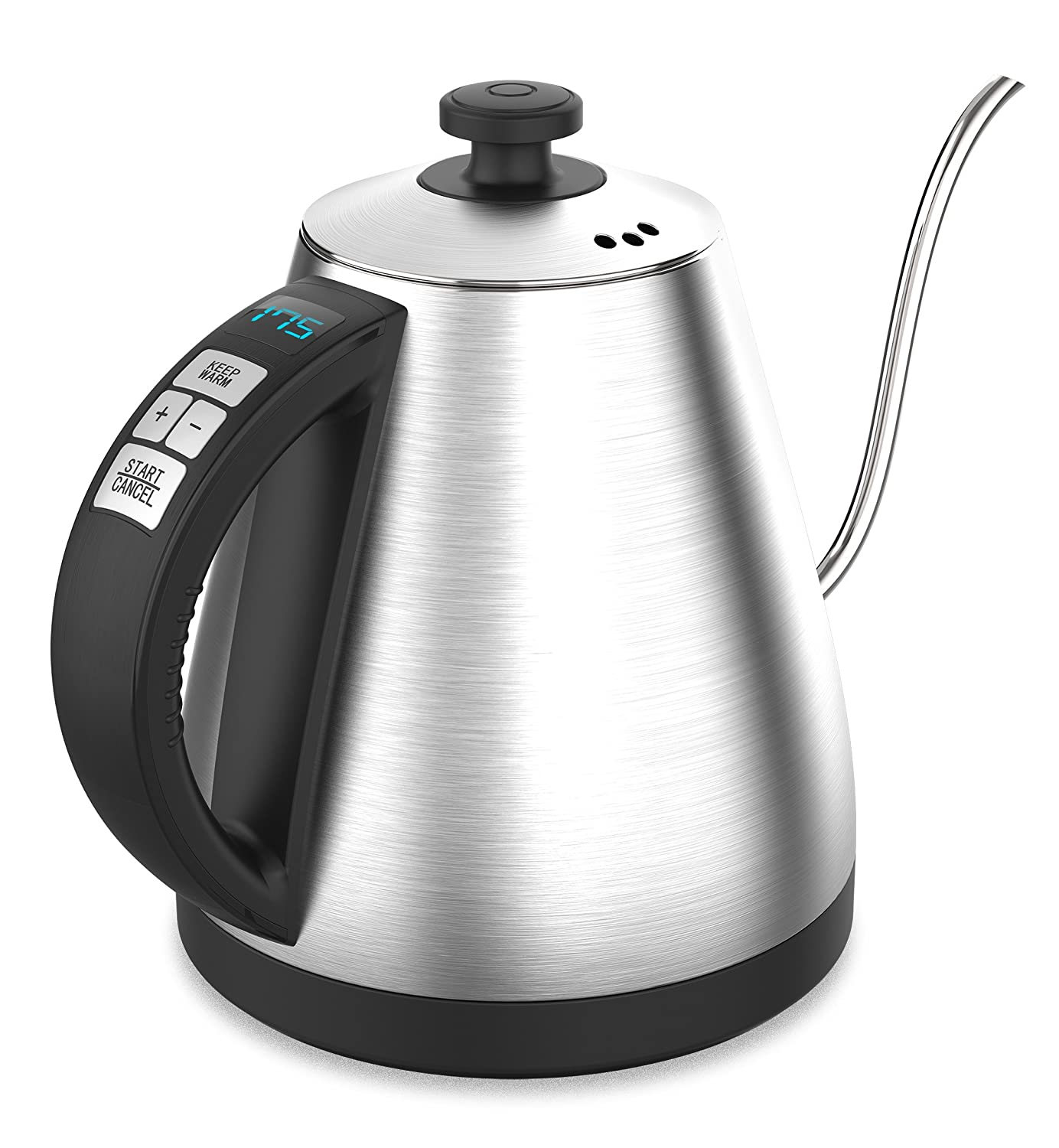 BREVO 1.0L Digital Variable Temperature Electric Gooseneck Kettle for Pour Over Drip Coffee & Tea with 120~212 °F Heating Control 1000W Fast Boiling KE4012