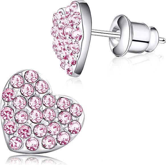Buyless Fashion Girls Christmas Snowflake Stud Earrings Hypoallergenic Steel