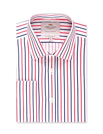 bee13fd521 HAWES & CURTIS Mens Red & Blue Multi Stripe Slim Fit Dress Shirt - French  Cuff - Easy Iron at Amazon Men's Clothing store: