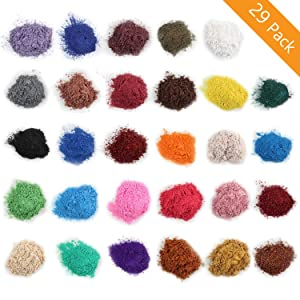 Mica Powder for Bath Bombs [0.1 oz 29 Bags], Cosmetic Grade Soap Making Colorant Pigments for Candle Making, Blush, Eye Shadow, Craft Projects, Nail Art, Resin Jewelry, Blush, Craft Projects