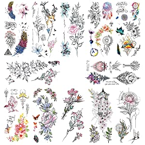 Oottati Waterproof 14 Sheets Pink Flowers Branch Bird Fake Temporary Tattoo Stickers