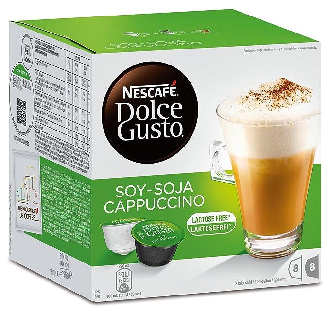 Nescafé Dolce Gusto soja capuchino, Café con leche de soja, soy Leche, libre de lactosa, Cápsulas de Café, 16 Cápsulas, (8 Raciones)