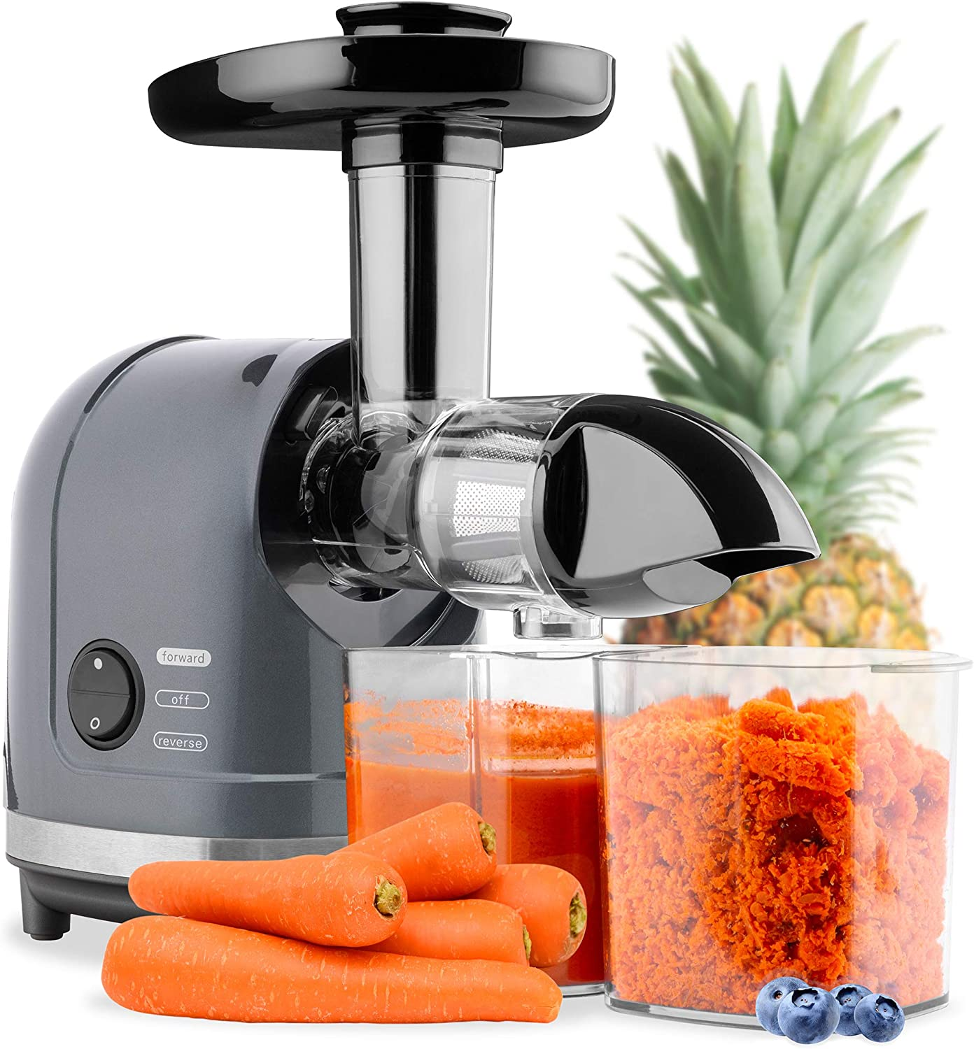 Best Choice Products 150W Horizontal Slow Masticating Juicer, Cold Press Extractor, High Nutrient Yield Juicing for Fruits & Vegetables w/Safety Lock, Reverse Mode, Quiet Motor, Cleaning Brush