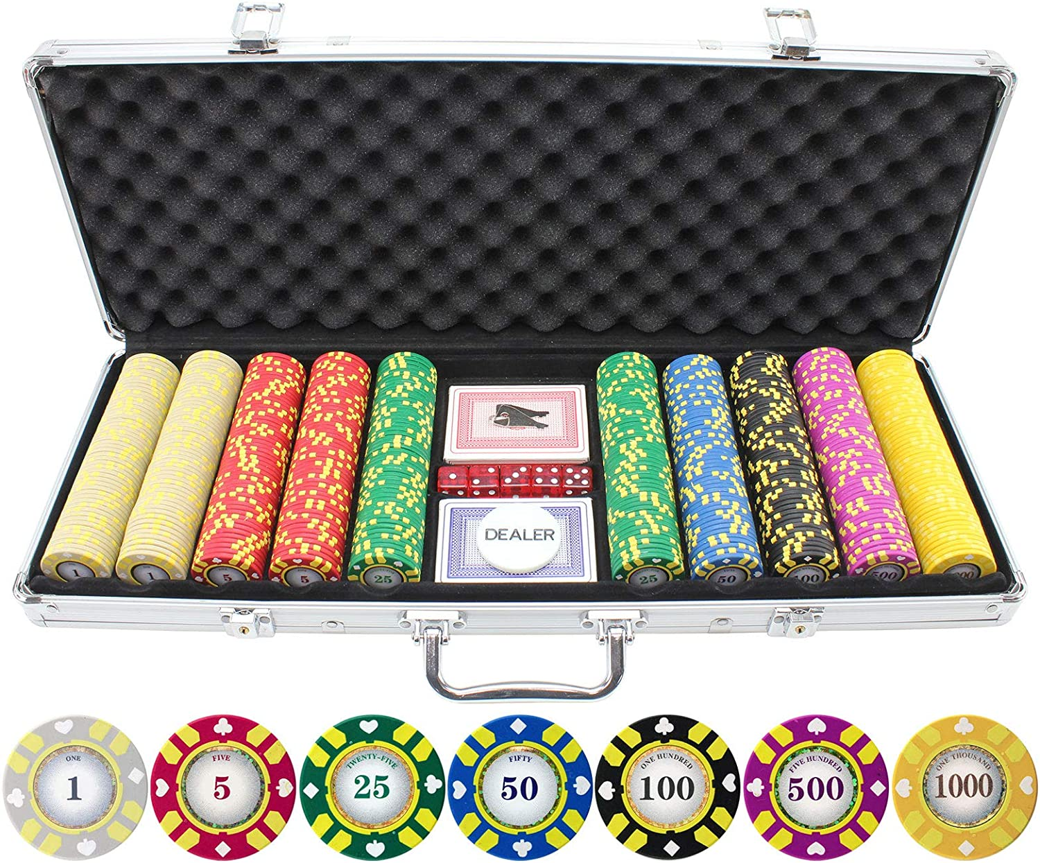 Get 1 Free 25 Blue Striped Dice 11.5g Clay Poker Chips New Buy 2