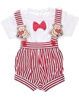 Toffyhouse Baby Boys Teddy Romper (Red, Newborn)