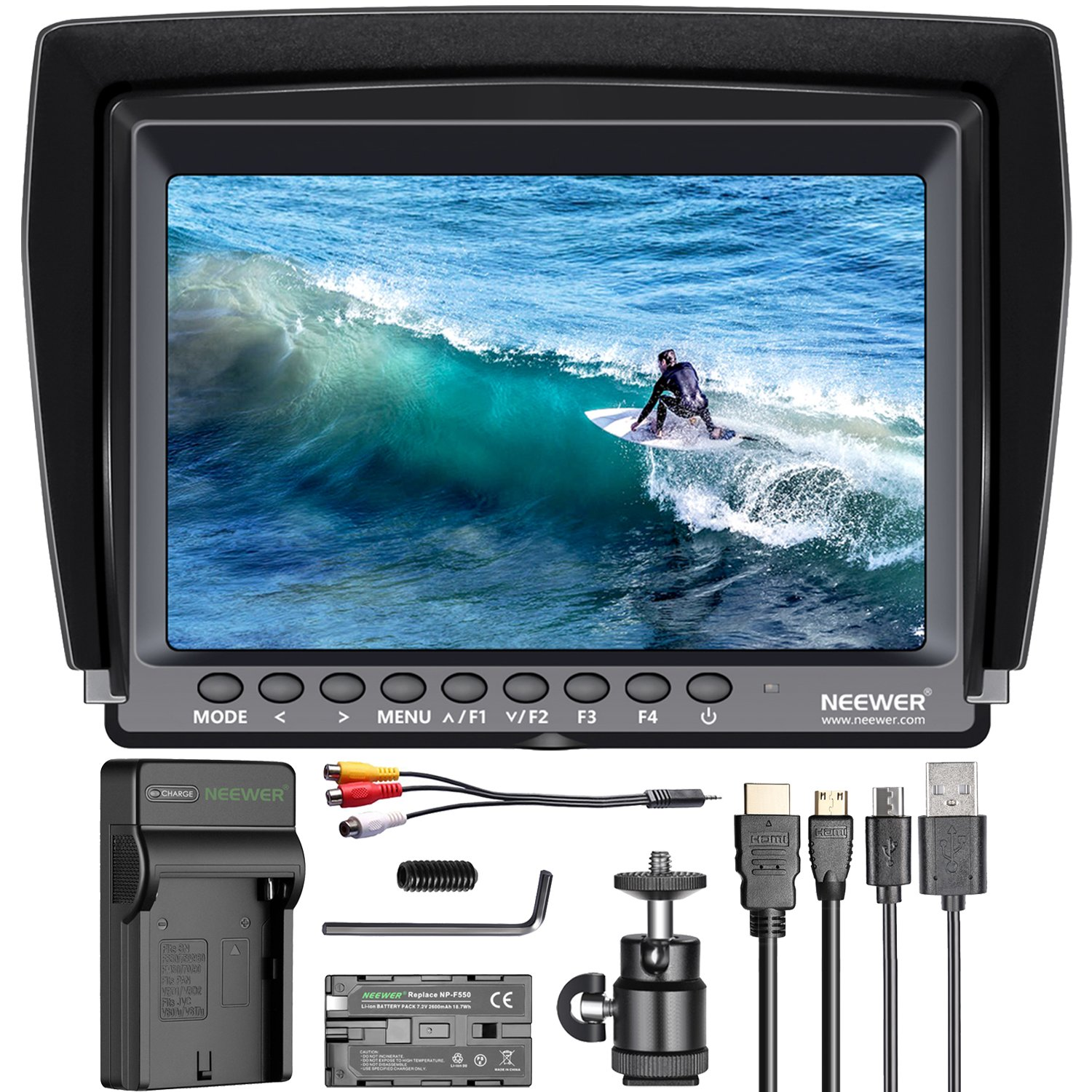 Neewer F100 7-inch 1280x800 IPS Screen Camera Field Monitor 4K HDMI Input output Video with 2600mAh Li-ion Battery,USB Charger For DSLR Mirrorless Camera GH5 SONY A7S II A6500 Canon 5D Mark IV by Neewer