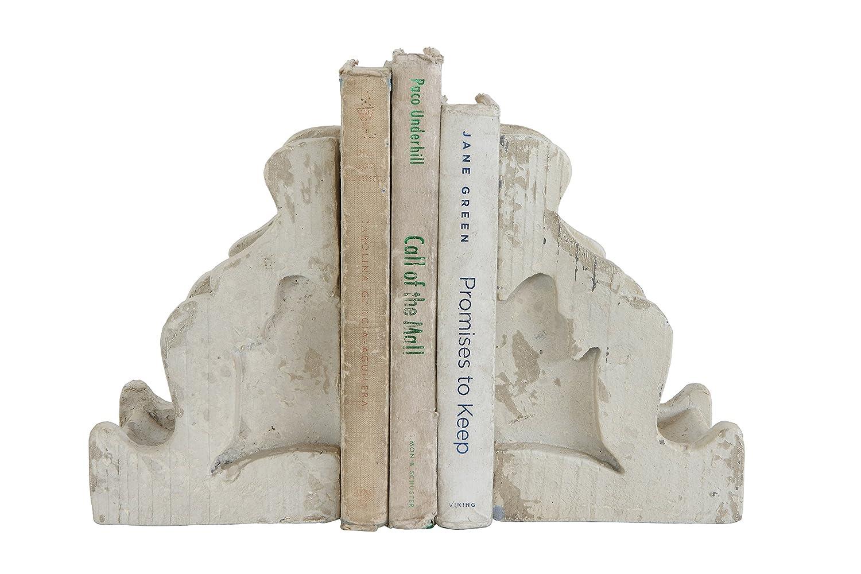 Creative Co-op DA7622 Distressed White Corbel Bookends