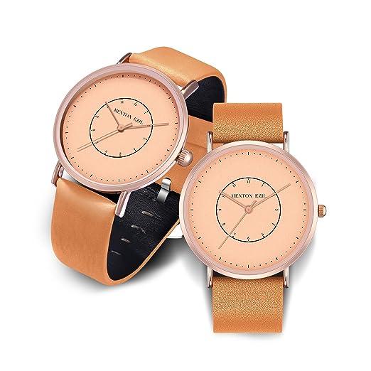 37630f8e8769 Relojes de Pareja Ultrafinos Tono Dorado Rosa Cuarzo analógico Clásico  Banda de Cuero Marrón para su Amor - Conjunto de 2  Amazon.es  Relojes