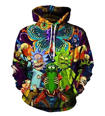 d06d25acb Image Unavailable. Image not available for. Color: 3d Hoodies Cartoon Rick  and Morty Printed Women/Men Hip Hop ...