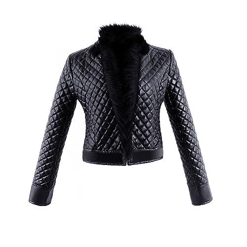 VLUNT Abrigo de cuero chaquta de piel Abrigo Collar de Felpa Chaqueta Enrejado Abrigo