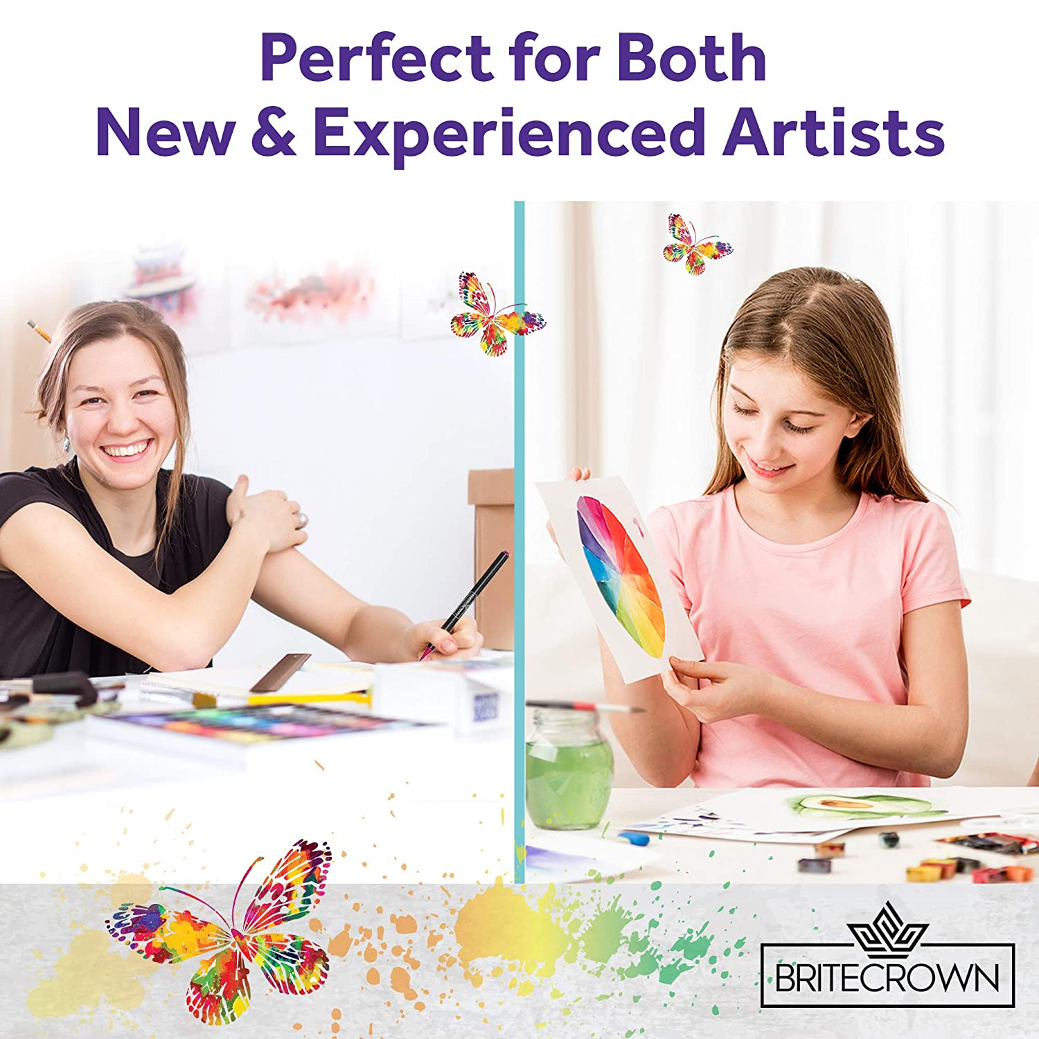 Brite Crown Watercolor Paper Pad Cold Press Texture Wet Media /& Mixed Media Artists Bright White 30 Sheets Teens and Adult Painters 140lb//300gsm 9x12 Acid Free Watercolor Paper for Kids