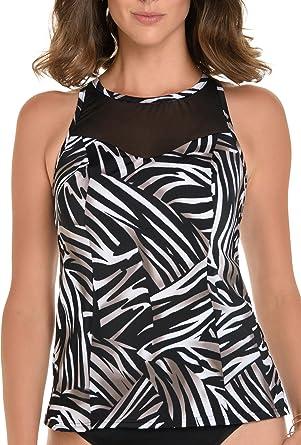 d3d4fbcd72df2 Trimshaper Sheer Inset Zebra Print Tankini Top at Amazon Women s ...